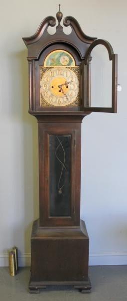 155A: Colonial Mahogany Tall Case Clock.