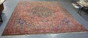 Antique Sarouk Style Carpet With Center Medallion.