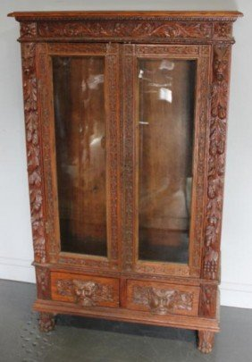 Heavily Carved Oak Bookcase With Two Drawers,