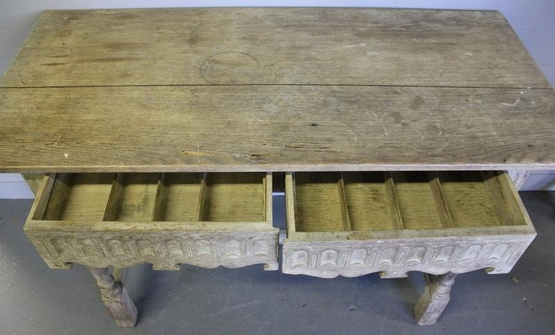 87A: Bleached Oak Tudor Style 2 Drawer Table.