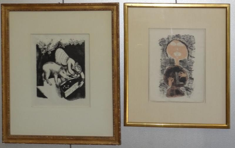 2: After CHAGALL & After DUBUFFET. 2 Lithographs.