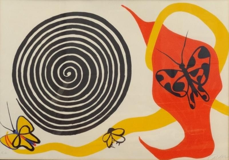"6: CALDER, Alexander. Lithograph ""Butterflies and"