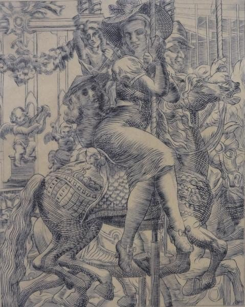"7: MARSH, Reginald. Engraving ""Merry Go Round."""