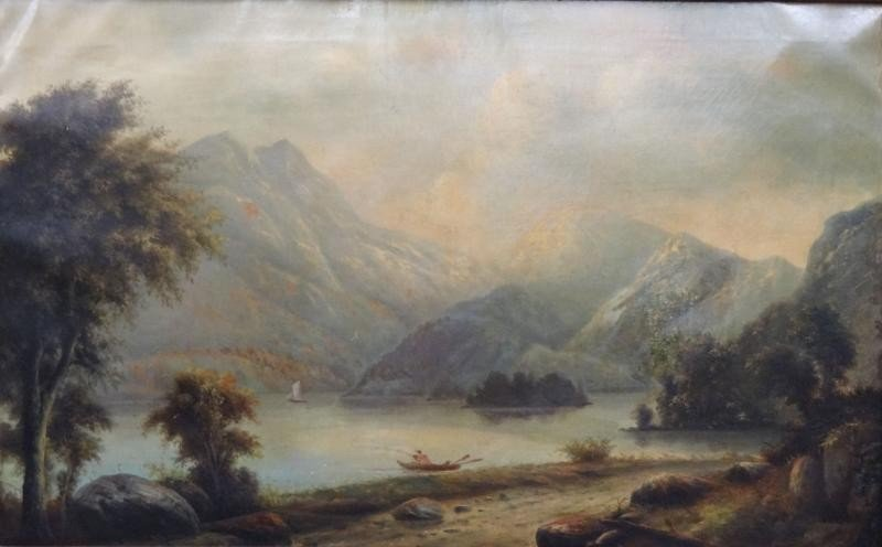 9: Large 19th C. O/C Landscape with Figures in Boat