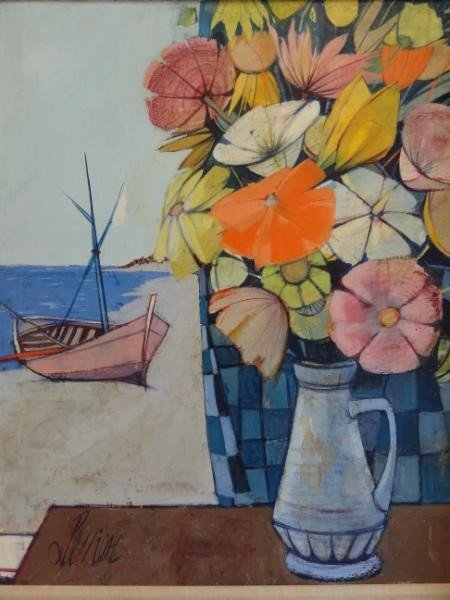 20: LEVIER, Charles. O/C Still Life Bouquet and Boat