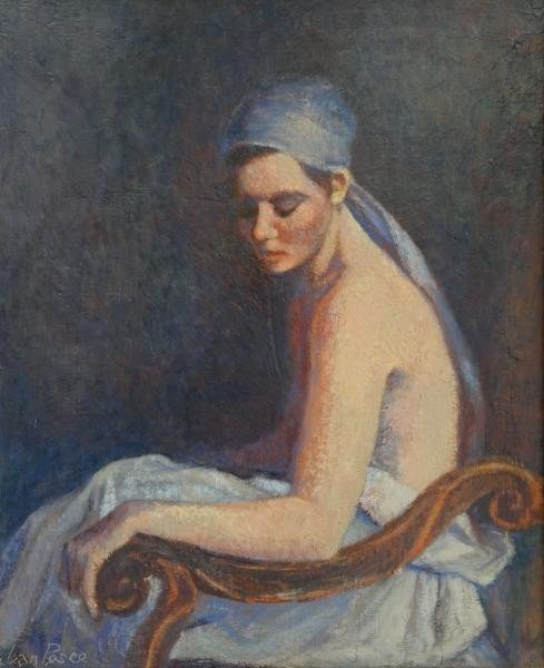 "21: PESCE, Jean. Oil on Board. ""La Femme Au Turban."""