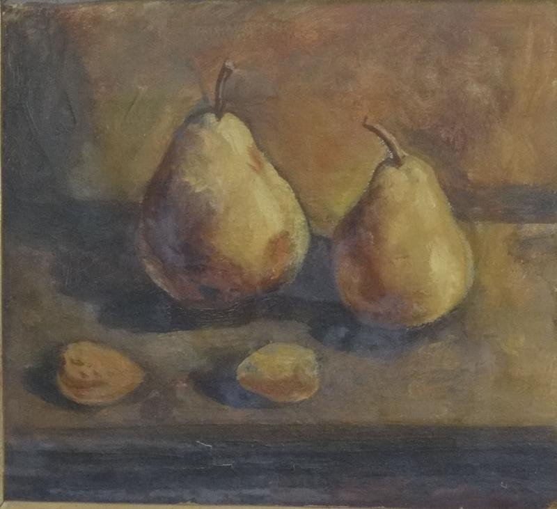 22: Unsigned O/C Still Life of Pears.