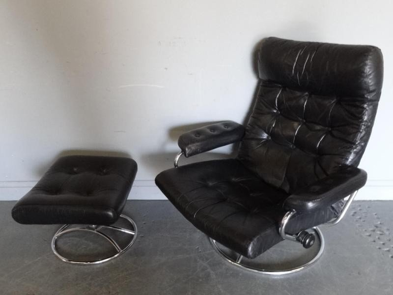 294: Ekornes Midcentury Leather Chair and Ottoman