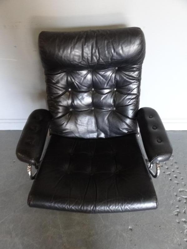 294: Ekornes Midcentury Leather Chair and Ottoman - 3