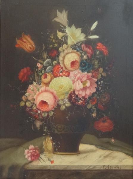 4: STEVENS, F. Decorative O/C Floral Still Life.