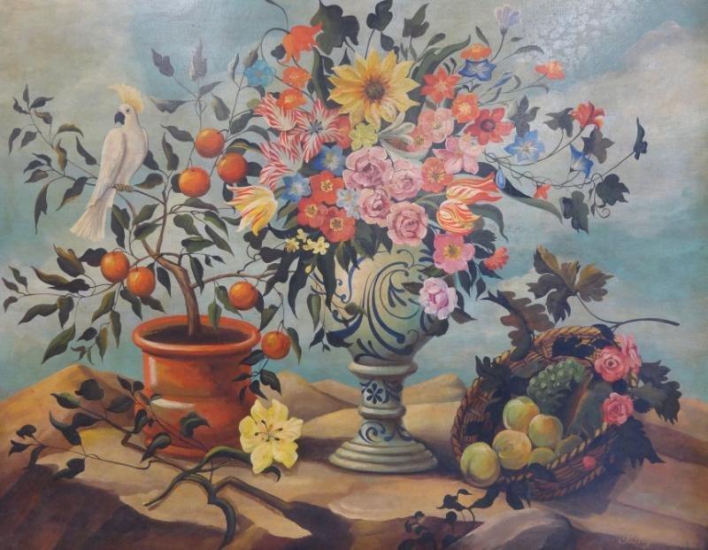 5: SKILLING, William. Large O/C Floral Still Life