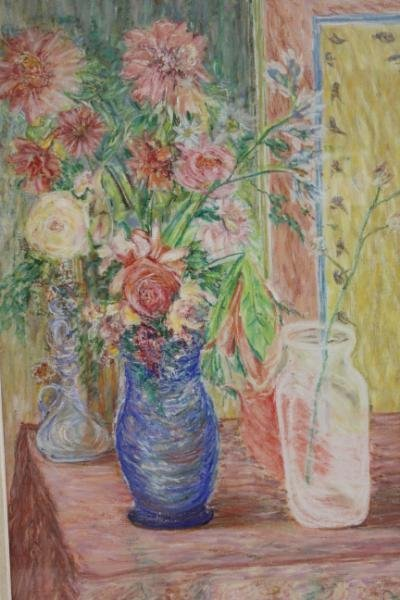 7: Signed 1956 Oil on Canvas Floral Still Life.