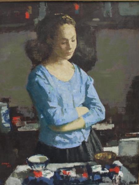 14: SERRA, Francisco. Oil on Canvas of a Beauty.