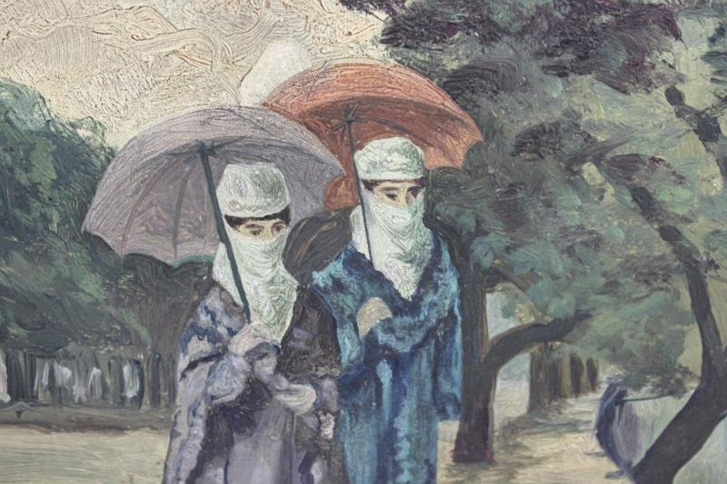 16: DIRIT, Henry. Oil/Canvas Board. 2 Veiled Woman