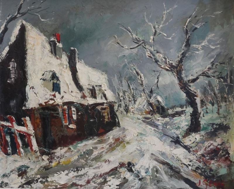 17: GENAS, Jean. Oil on Masonite Winter Landscape.