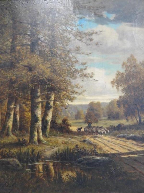 """18: SCHULTZ, Adrien. Oil On Canvas """"Sheep Herder"""""""