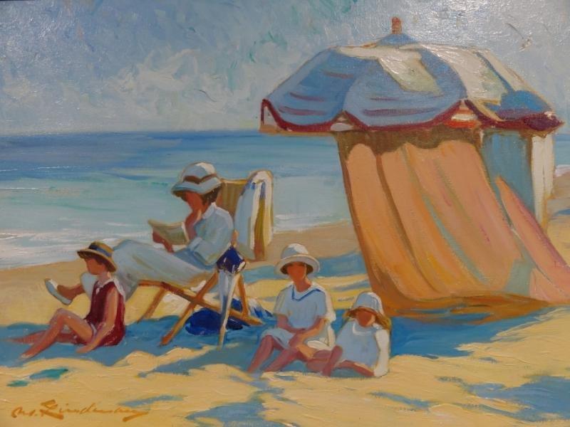 22: LINDENAU, Martin. Oil on Canvas Beach Scene.