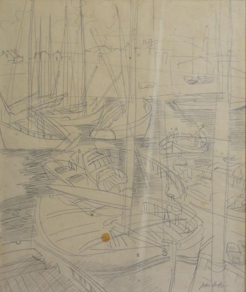"""23: DUFY, Jean. Graphite on Paper """"Voiliers Au Port."""""""