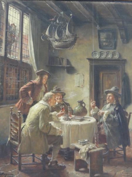 28: WAGNER, Fritz. Oil on Canvas Tavern Scene.