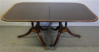 279: Mahogany Twin Pedestal Banded Dining Table.