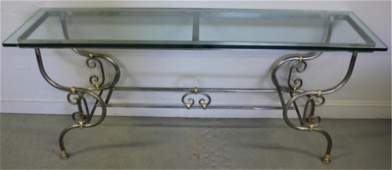 288 Contemporary Steel and Brass Console Table