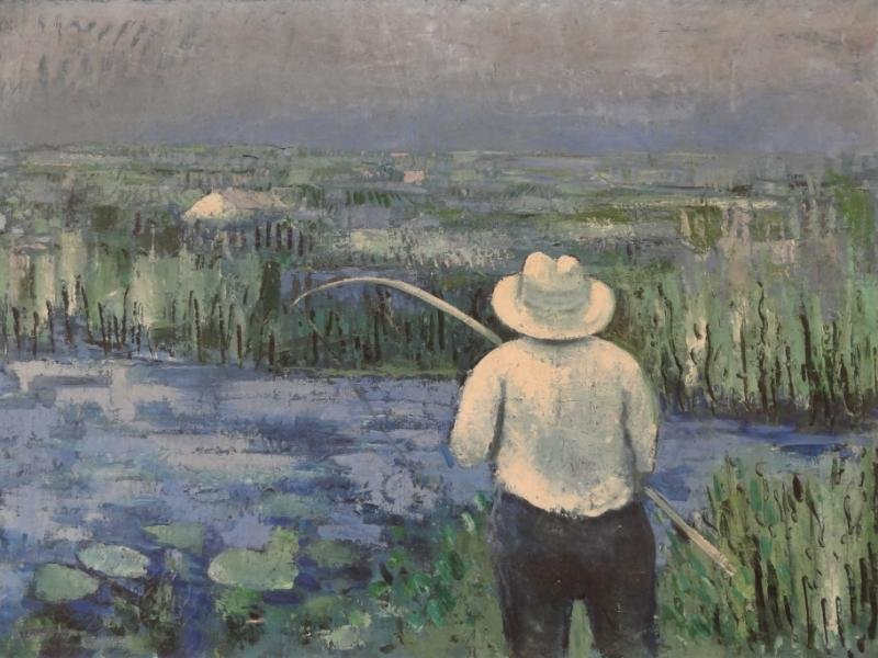 12: ZERBE, Karl. Oil on Canvas of a Fisherman.