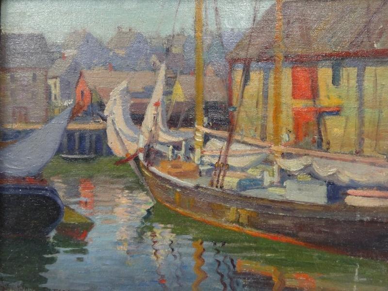 14: PETERSON, Jane. Oil on Board of Harbor Scene.
