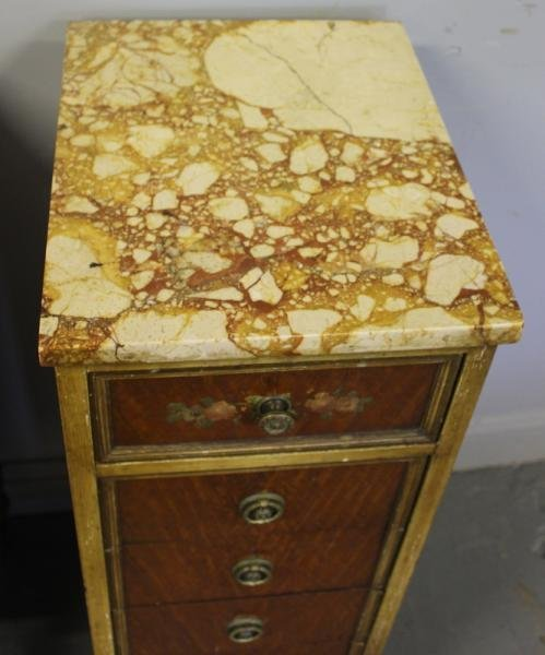 39: Pair of Satinwood Marble Top 5 Drawer Cabinets. - 2