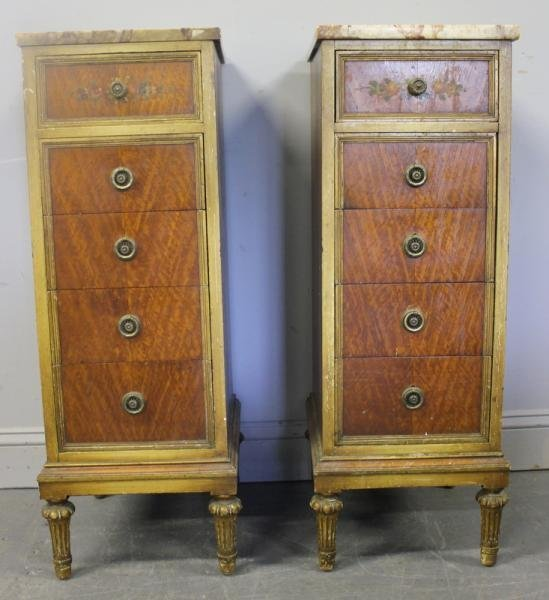 39: Pair of Satinwood Marble Top 5 Drawer Cabinets. - 4