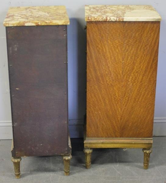 39: Pair of Satinwood Marble Top 5 Drawer Cabinets. - 5