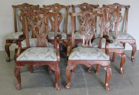 8 Chippendale Style Mahogany Dining Chairs.