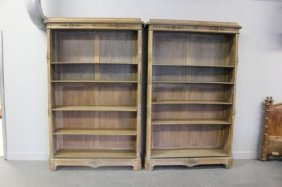 Pair Of Open Front Antique French Bookcases.