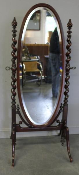 Victorian Mahogany Cheval Mirror.