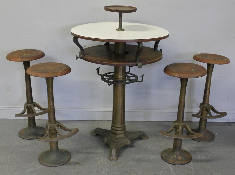 77: Original Horn and Hardart Table with 4 Stools.