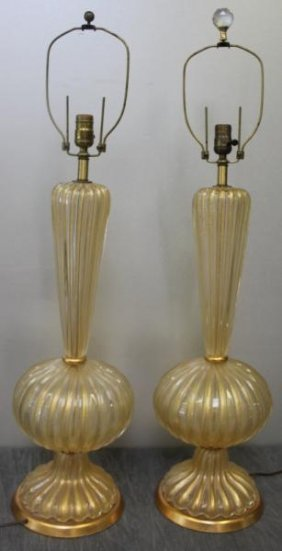 Pair Of Large Midcentury Murano Gold Flecked