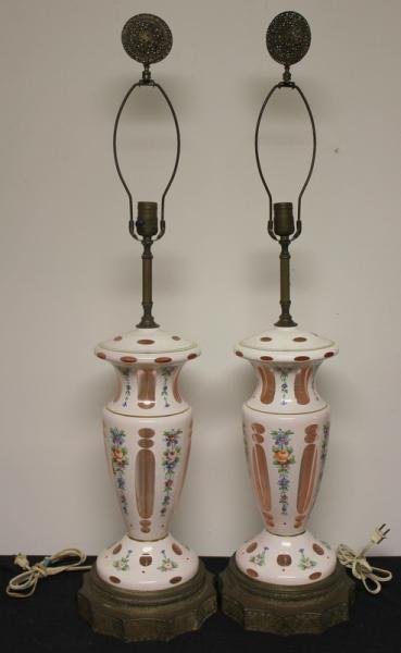 140: Pair of Bohemian Cut to Clear Lamps.