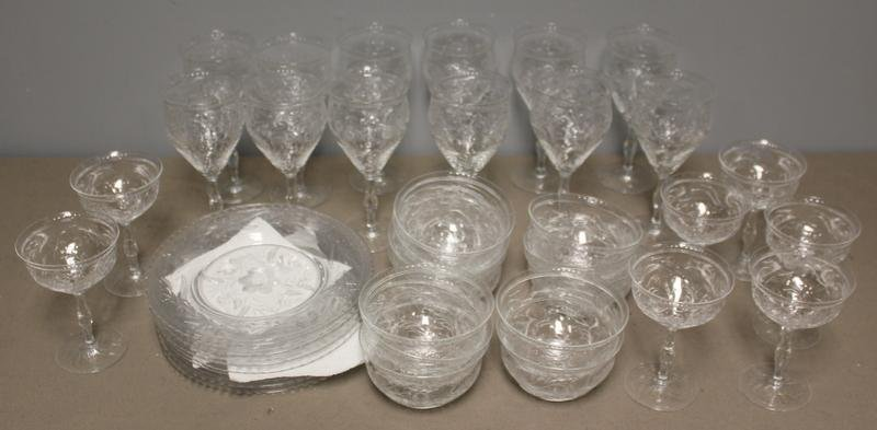 144: Lot of Assorted Etched Webb Corbett Deco Dinner