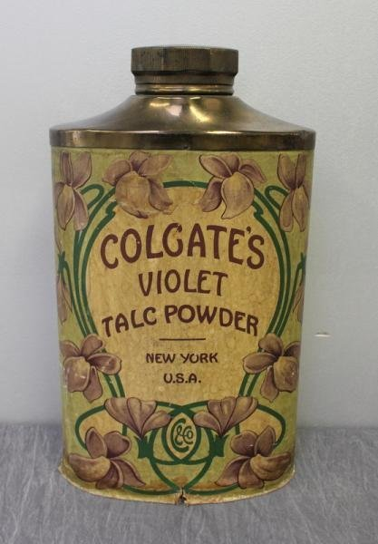155: Large Colgate Talc Powder Advertising Bottle.
