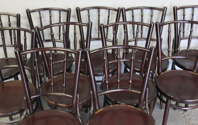55A: 12 Thonet Black Bentwood Chairs. - 2