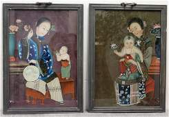 390: 2 Framed Asian Reverse Paintings on Glass.