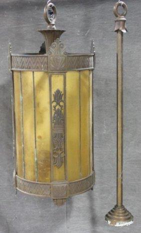 Bronze And Amber Art Deco Hanging Chandelier.