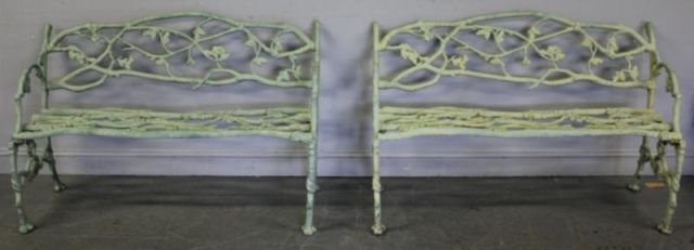 2: Pair of Iron Benches.