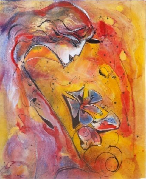 """9: GAUGY, Jean-Claude. Watercolor """"Fleur de Feu."""""""