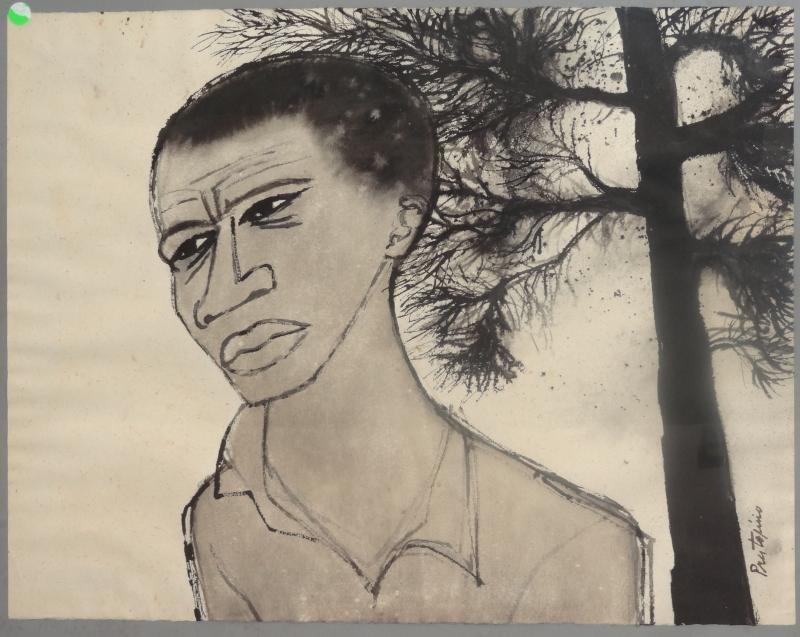 10: PRESTIPINO, Gregorio. Ink Wash Portrait.