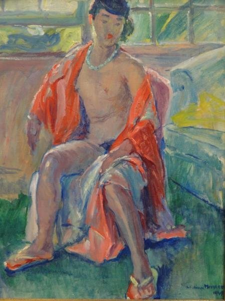 11: MALHERBE, William. 1949 O/C Seated Nude.