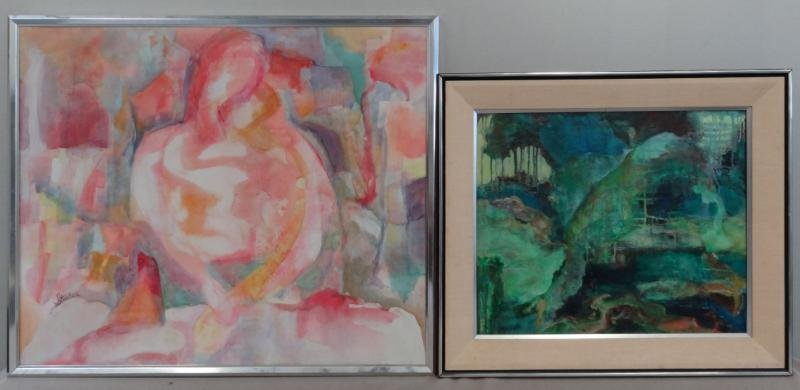 13: STECKER. Two Modernist Oils on Canvas.