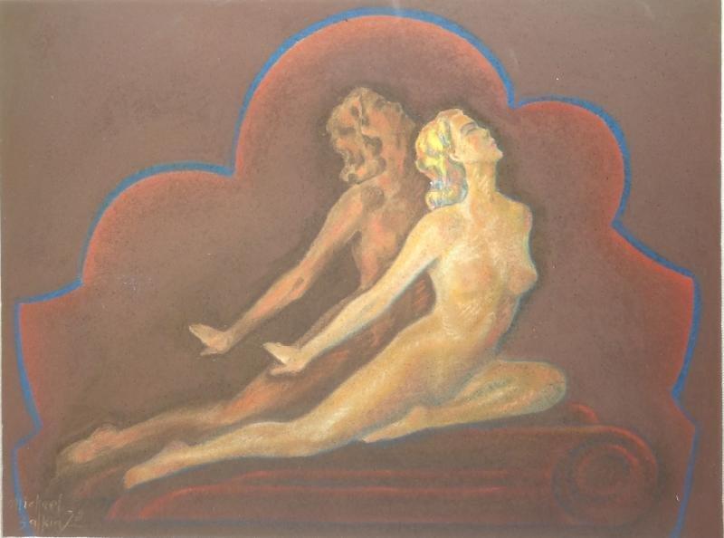 15: ZALKIN, Michael. 1938 Pastel Deco-Style Nude.