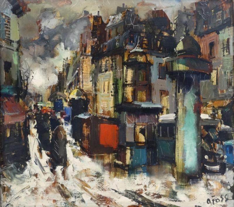 16: FOSS, Olivier. Oil on Canvas Street Scene.