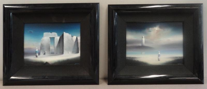 18: WATSON, Robert. 2 Surrealist Oils on Masonite.