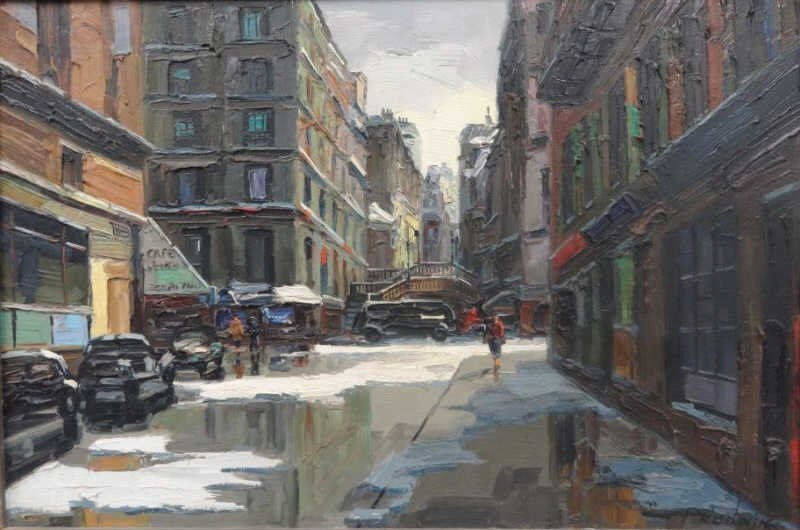 19: PRUDNIK, J. Oil on Canvas Parisian Sreet Scene.